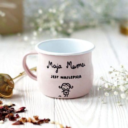 kubek emaliowany znapisem moja mama jest najlepsza