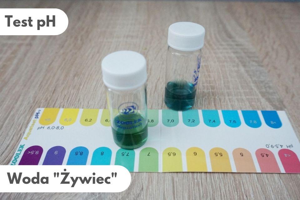 Wyniki testu pH wody Żywiec: pH około 7,2