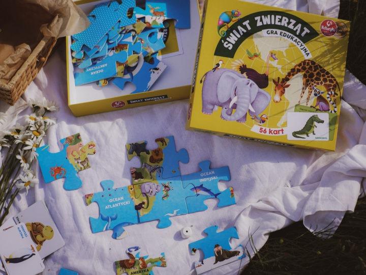 świat zwierzat gry planszowe puzzle ikarty zezwierzętami