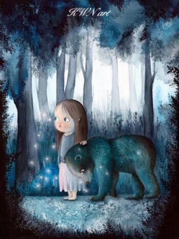 magiczny obraz. dziewczynka zniedzwiedziem wlesie